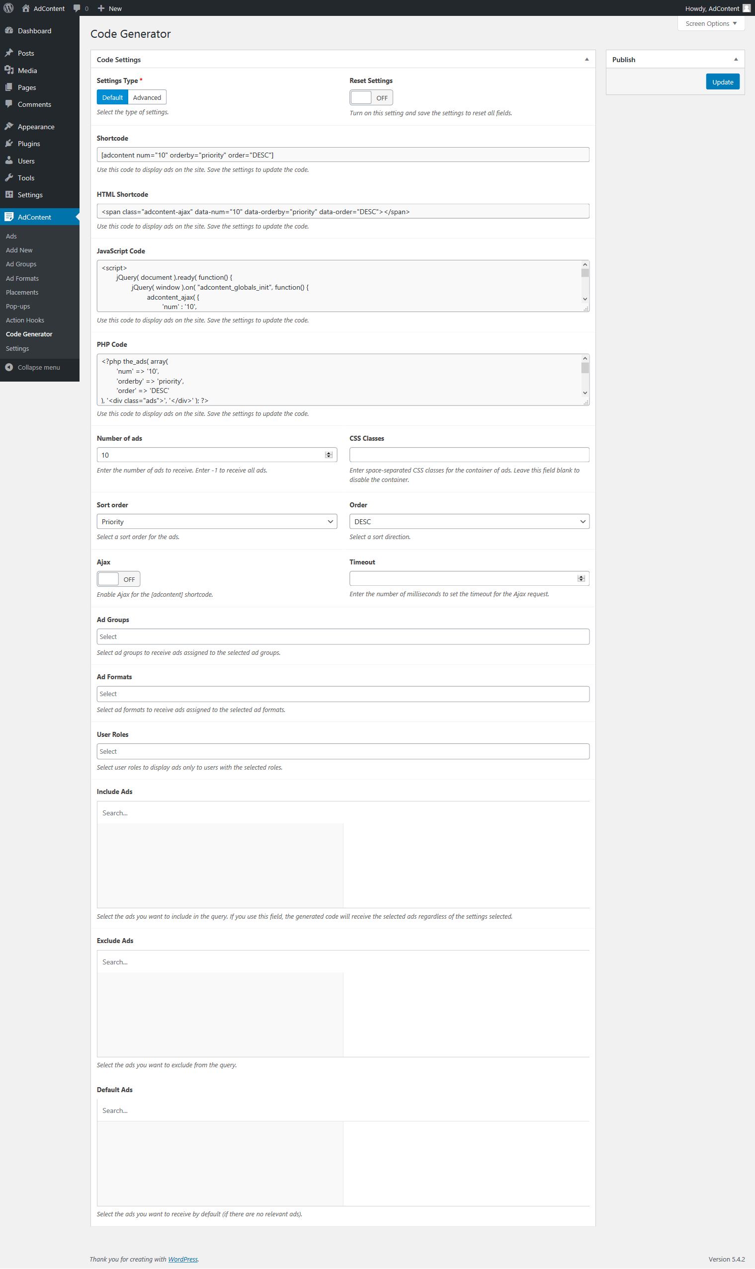 AdContent > Code Generator (default mode)
